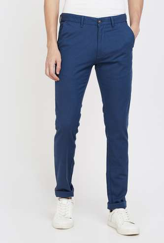 V DOT Textured Slim Fit Chinos