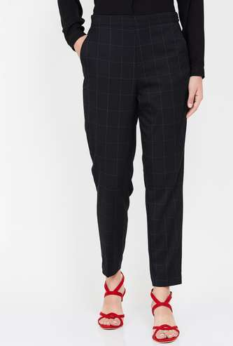 CODE Checked Woven Trousers