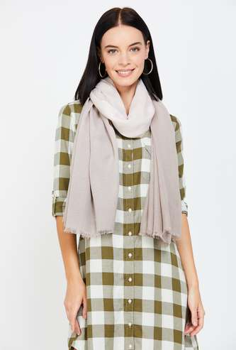 GINGER Women Solid Stole with Fringes