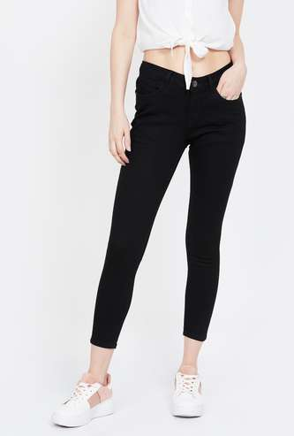 MS. TAKEN Solid Skinny Cropped Jeans