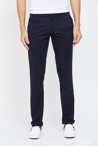 COLORPLUS Solid Super Slim Fit Casual Trousers