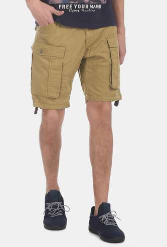 FLYING MACHING Solid Slim Fit Cargo Shorts