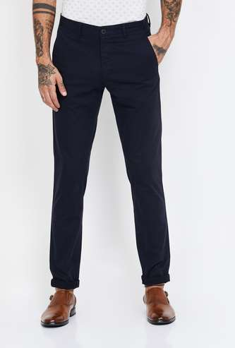 VH SPORTS Solid Slim Straight Chinos