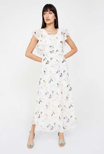CODE Printed Ruffle Sleeved Maxi Dress