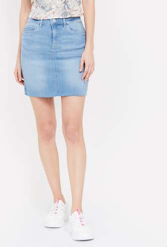 VERO MODA Stonewashed Denim Skirt