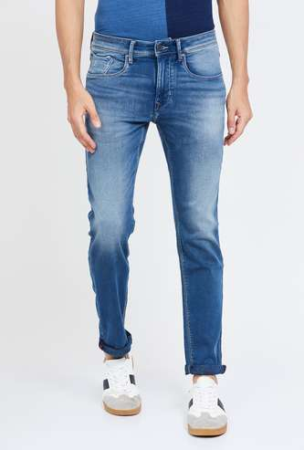 FLYING MACHINE Stonewashed Slim Tapered Jeans