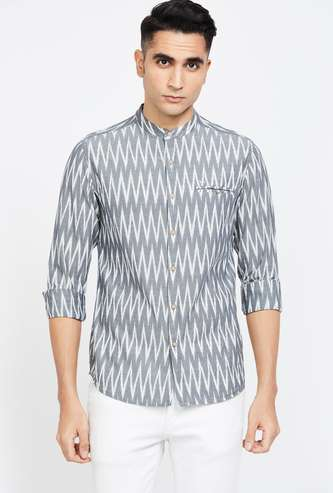 FLYING MACHINE Printed Slim Fit Band Collar Shirt