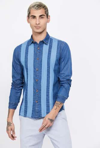 PEPE JEANS Striped Full Sleeves Regular Fit Denim Shirt