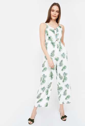 FABALLEY Tropical Print Jumpsuit