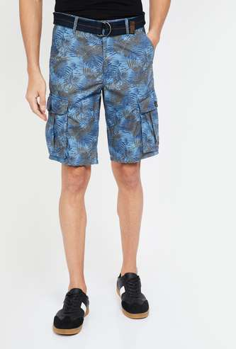 T-BASE Tropical Print Printed Regular Fit Shorts