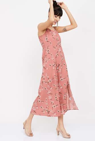MS. TAKEN Floral Printed Flared Dress