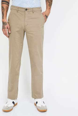 COLORPLUS Solid Slim Fit Casual Trousers