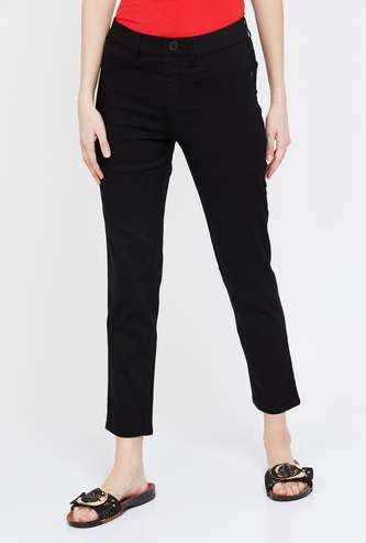 XPOSE Solid Slim Fit Cropped Jeans