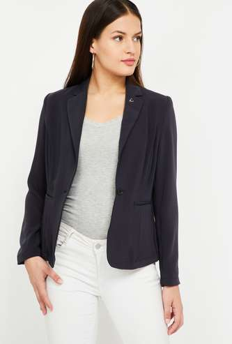 ALLEN SOLLY Solid Regular Fit Single-Breasted Blazer