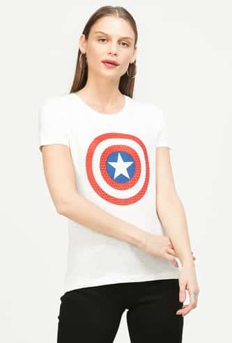 FREE AUTHORITY Captain America Print Regular Fit T-shirt
