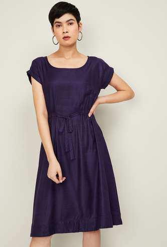 CODE Women Textured Fit and Flare Dress with Upturned Hems