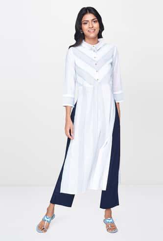 GLOBAL DESI Printed Shirt Kurta with 3/4 Sleeves and Side Slits
