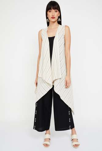 DE MOZA Striped Sleeveless Waterfall Shrug