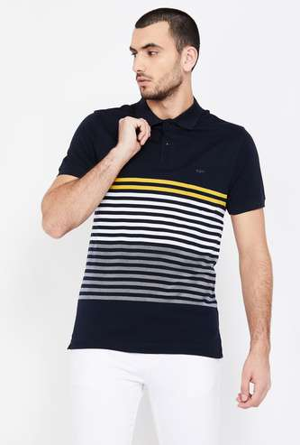 COLORPLUS Striped Regular Fit Polo T-shirt
