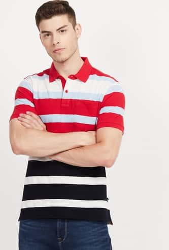 PARX Striped Regular Fit Polo T-shirt