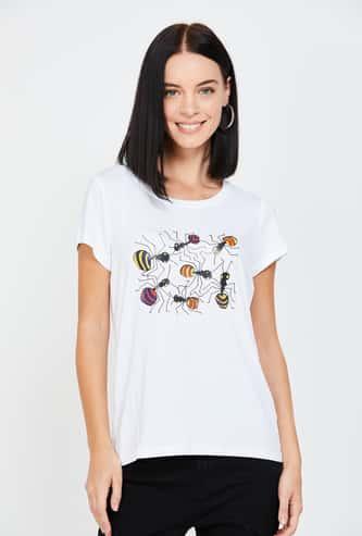 FAME FOREVER X Sense Kaleidoscopes Women Printed Round Neck T-shirt by Kalash Cariappa