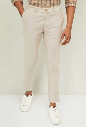 INDIAN TERRAIN Men Kruger Textured Super Slim Ankle-Length Chinos