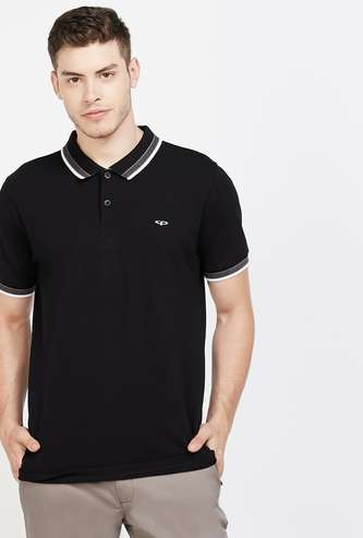 COLORPLUS Solid Regular Fit Polo T-shirt