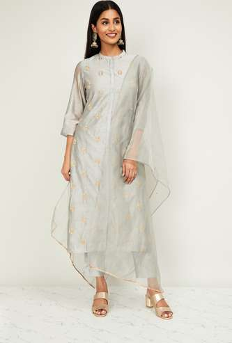 MELANGE Embroidered Button-Down Kurta with Straight Pants and Dupatta