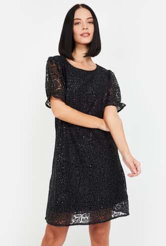 MS. TAKEN Women Floral Lace Sequinned Shift Dress