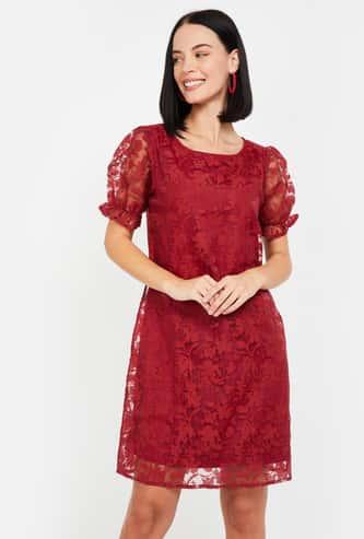 MS. TAKEN Women Shift Dress with Lace Detail