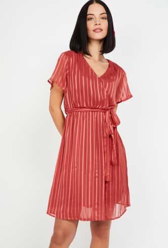MS. TAKEN Women Striped Short Sleeves A-line Dress