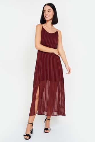 MS. TAKEN Women Striped Sleeveless Camisole Dress
