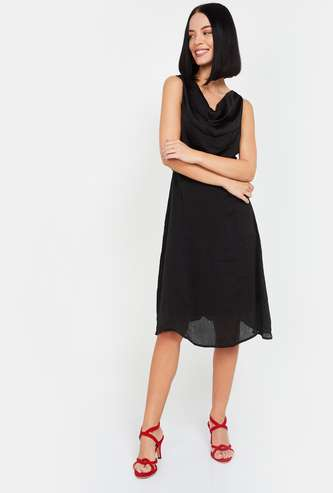 MS. TAKEN Women Textured A-line Dress with Cowl Neck