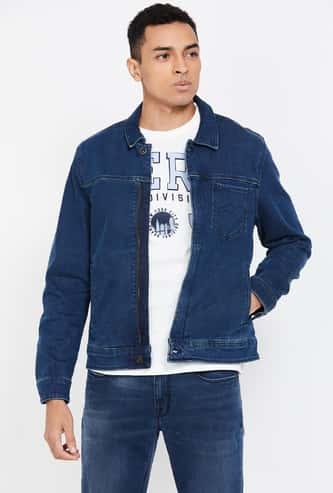 LP JEANS Solid Zip-Front Denim Jacket