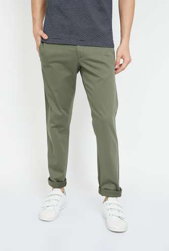 ALLEN SOLLY Solid Slim Straight Trousers
