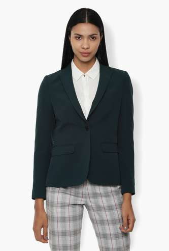 VAN HEUSEN Solid Full Sleeves Blazer