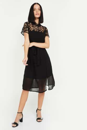 MS. TAKEN Women Floral Lace Fit & Flare Dress