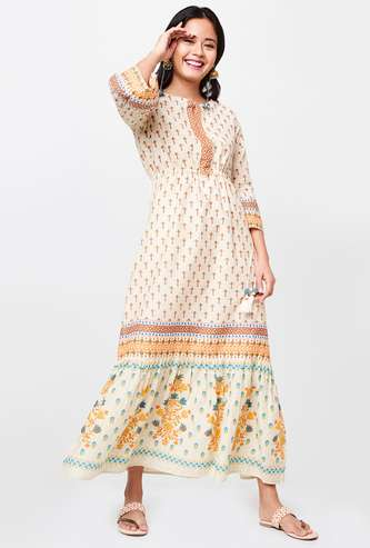 GLOBAL DESI Women Printed Cinched Waist Bell Sleeves Maxi Dress