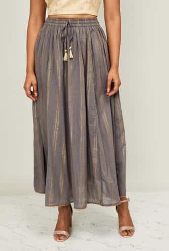 MELANGE Women Printed Tie-Up Waist Maxi Skirt