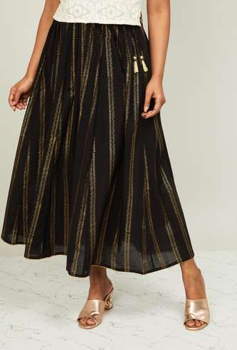 MELANGE Foil Print Maxi Skirt