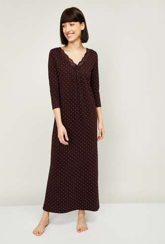 GINGER Women Polka-Dot Print Night Dress with Lace Trim