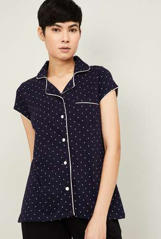 GINGER Women Printed Collared Lounge Shirt