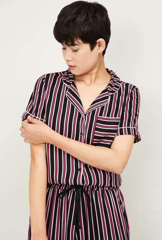 GINGER Women Striped Collared Lounge Shirt