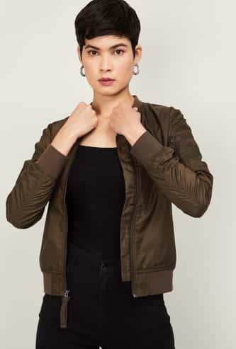 BOSSINI Women Solid Bomber Jacket with Baseball Collar
