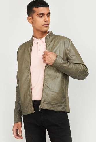 FORCA Men Textured Biker Jacket with Quilted Panels