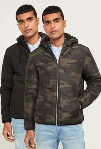 FORCA Men Printed Reversible Hooded Jacket