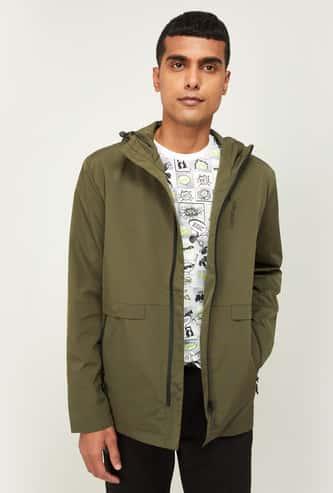 KAPPA Men Solid Zip-Front Hooded Jacket