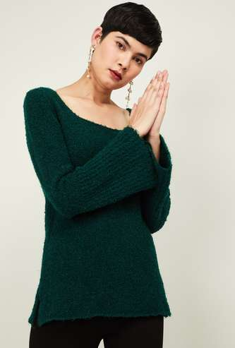 CODE Women Solid Bell Sleeves Sweater