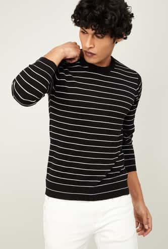 FAME FOREVER Men Textured Full Sleeves Sweater