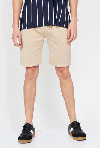 PEPE JEANS Men Solid Slim Fit 5-Pocket Shorts
